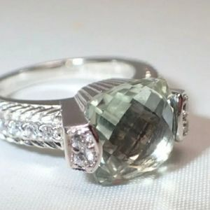 Judith Ripka Retired Green Amethyst Ring